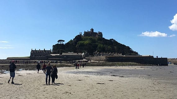 Onwards to St. Michael's Mount, across fields and marsh