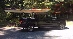 Seaward kayaks, Thule rack and F-150 pickup truck ready to roll.