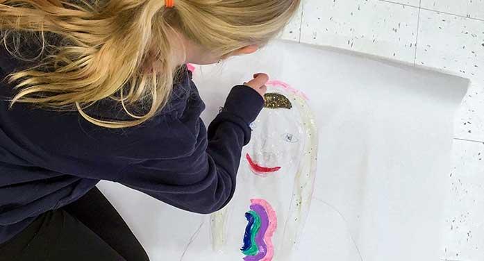 art child painting girl kid school